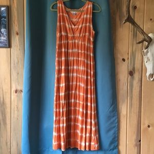Orange and white striped Maxi dress